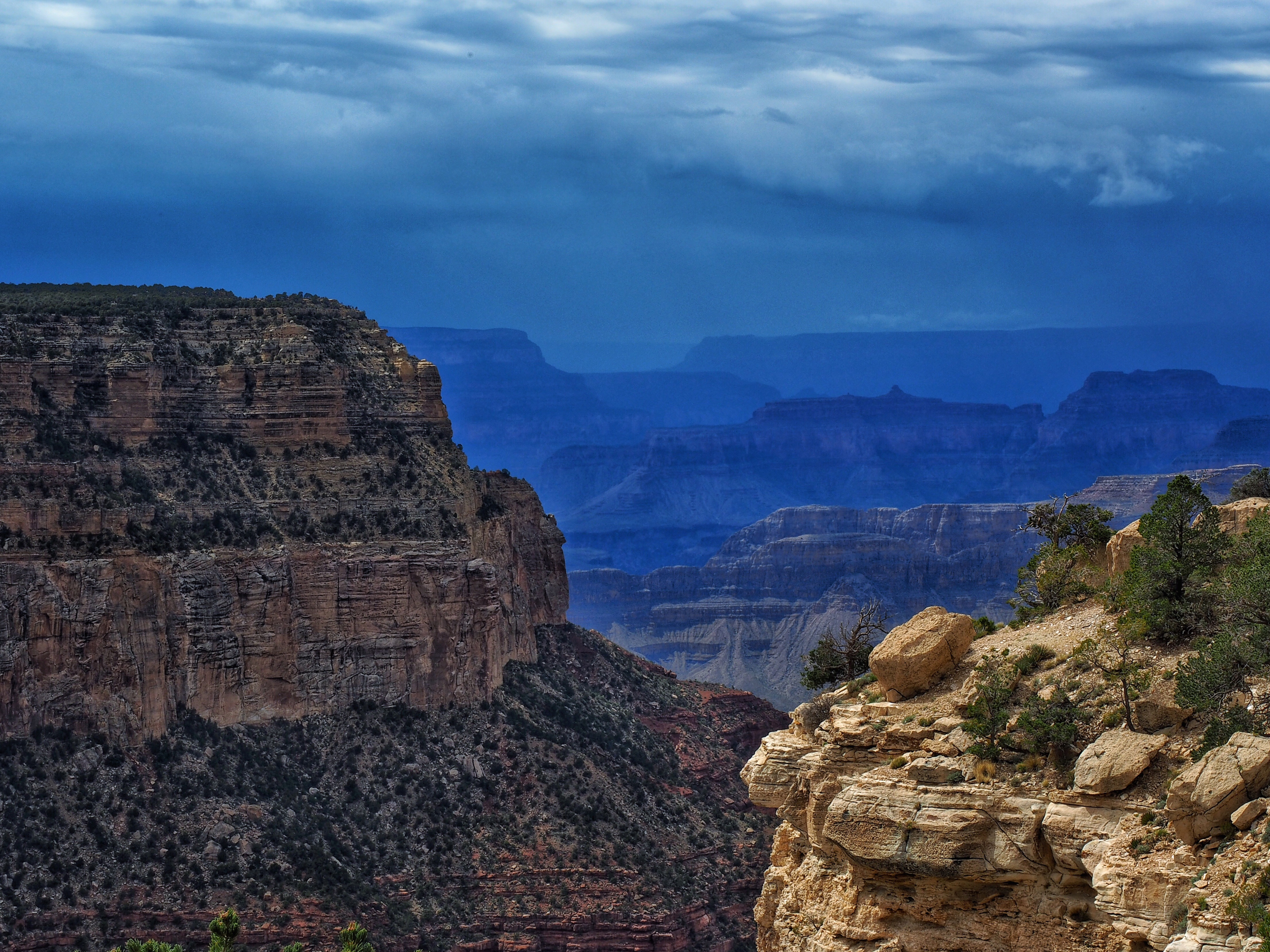 A storm passes through the Grand Canyon